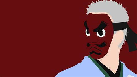 Demon Slayer Man With Gray Hair Wearing Red Mask And Blue