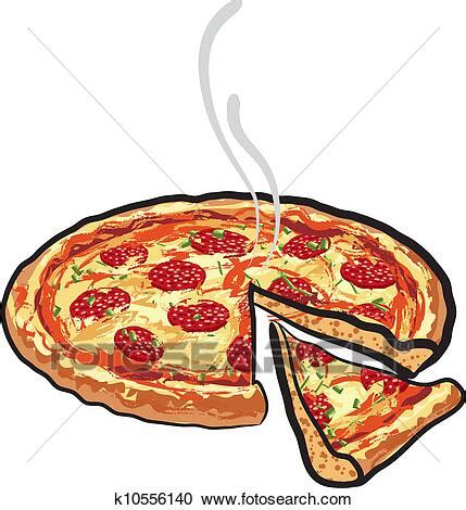 Clipart of pizza with salami k10556140 - Search Clip Art