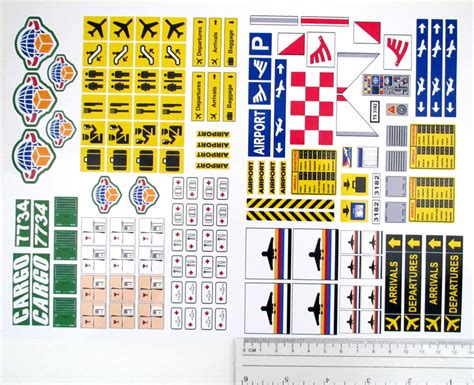 CUSTOM AIRPORT STICKERS LOT for MODELS, TOYS, Lego 3182