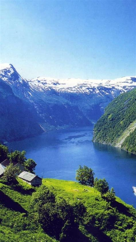 Snow houses norway europe boats rivers fjord Wallpaper