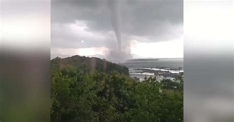 Huge waterspout forms off the coast of Indonesia